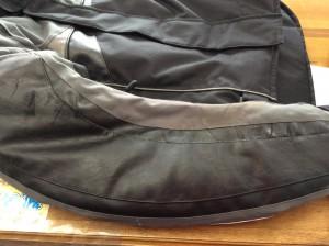 ライダースジャケットの合成皮革復元アフター