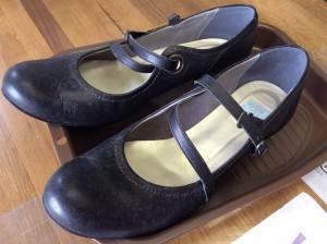 婦人革靴カビ処理ビフォー
