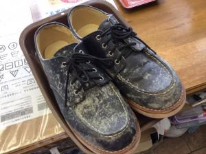 革靴のカビクリーニングビフォー