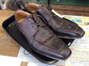 紳士革靴カビ  ビフォー