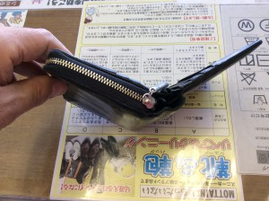 二つ折り財布のファスナー修理アフター