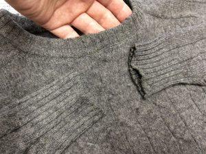 セーターの擦り切れ修理アフター