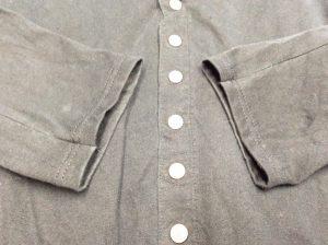綿カーディガン袖口擦り切れアフター