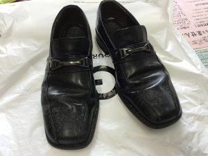 紳士革靴のカビ処理ビフォー