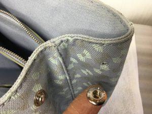 バッグのバネホック取り付けビフォー