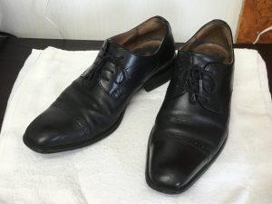 紳士革靴スッキリ仕上がりビフォー