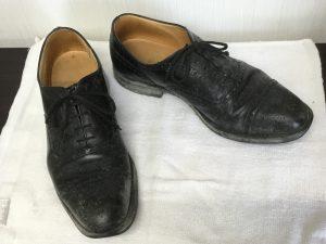 カビが生えたメンズ革靴ビフォー